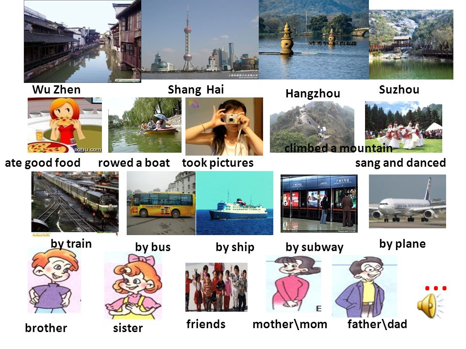 mother\mom sister friends brother father\dad … Wu ZhenShang Hai Hangzhou Suzhou ate good foodrowed a boat took pictures climbed a mountain sang and danced by train by bus by plane by shipby subway