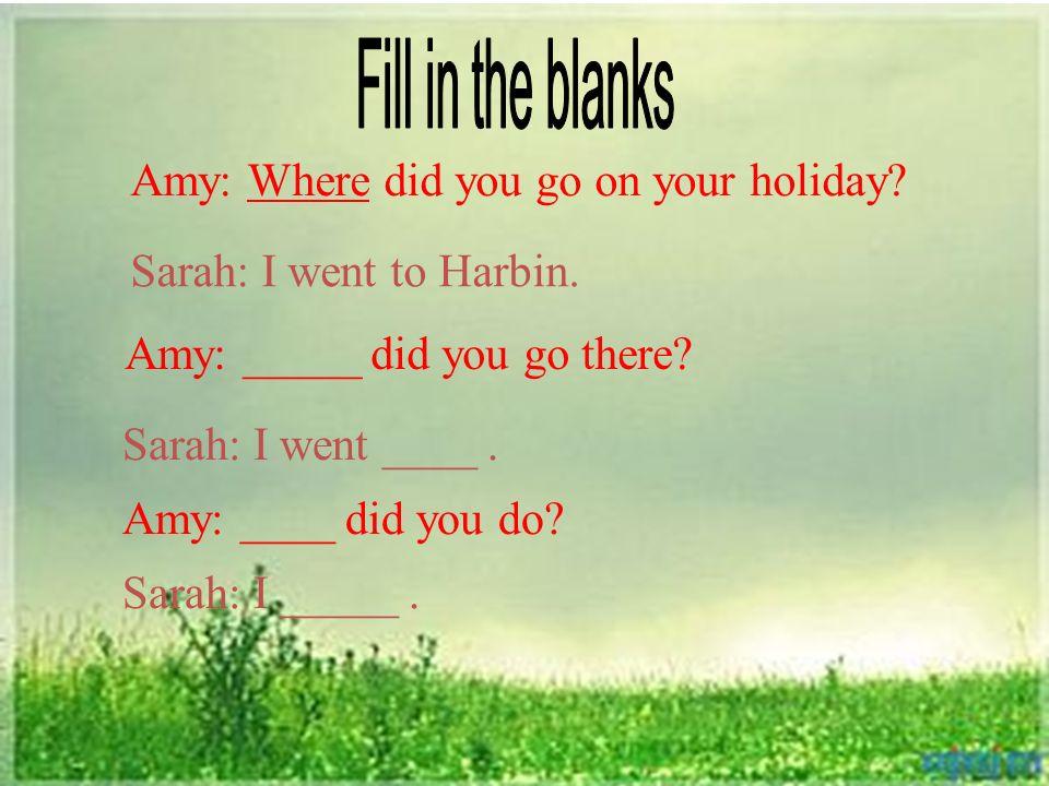 Amy: Where did you go on your holiday? Sarah: I went to Harbin. Amy: _____ did you go there? Sarah: I went ____. Amy: ____ did you do? Sarah: I _____.