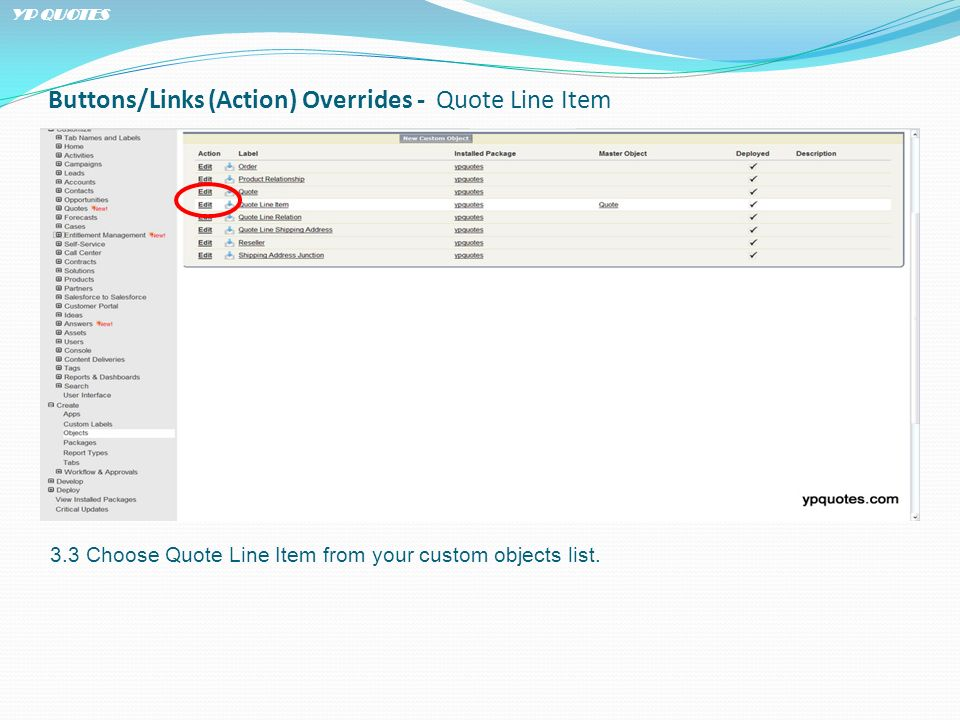 Buttons/Links (Action) Overrides - Quote Line Item 3.3 Choose Quote Line Item from your custom objects list.