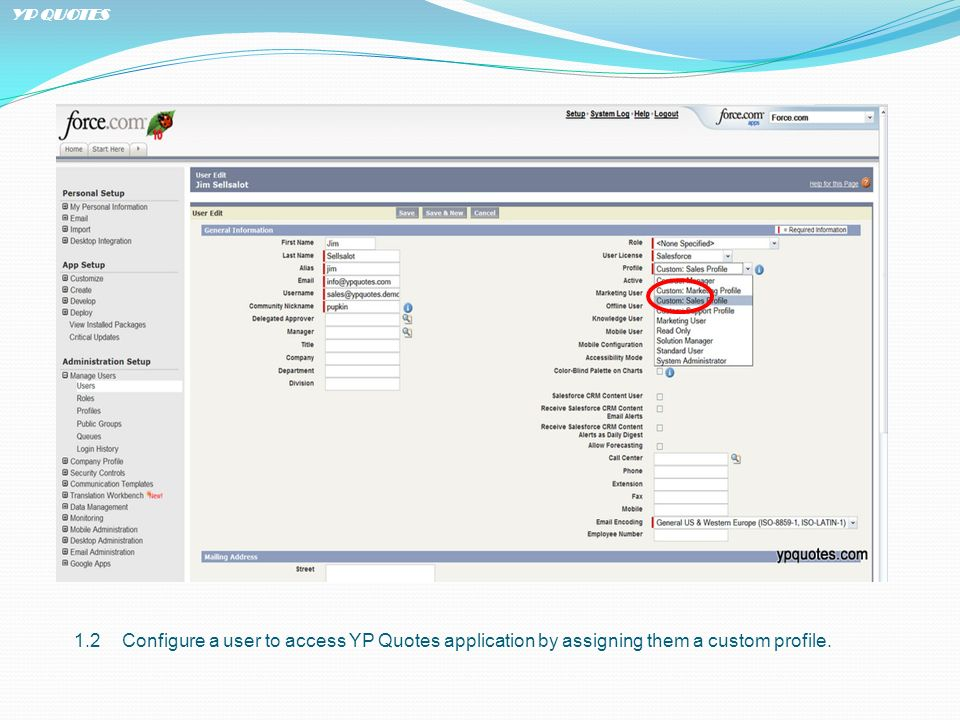 1.2Configure a user to access YP Quotes application by assigning them a custom profile.