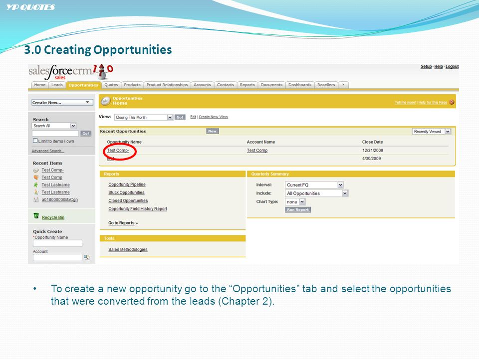 3.0 Creating Opportunities To create a new opportunity go to the Opportunities tab and select the opportunities that were converted from the leads (Ch