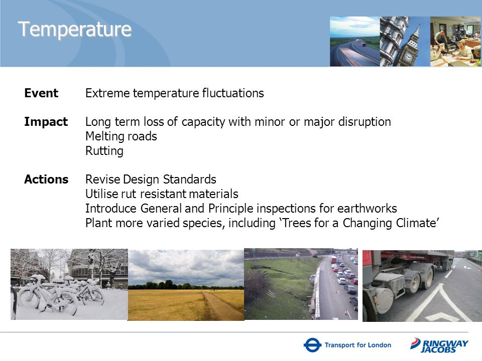 Event Extreme temperature fluctuations Impact Long term loss of capacity with minor or major disruption Melting roads Rutting Actions Revise Design Standards Utilise rut resistant materials Introduce General and Principle inspections for earthworks Plant more varied species, including Trees for a Changing Climate Temperature