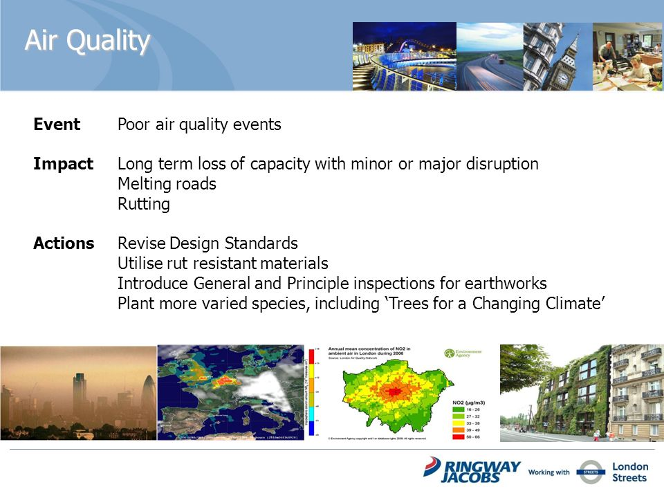 Air Quality Event Poor air quality events Impact Long term loss of capacity with minor or major disruption Melting roads Rutting Actions Revise Design Standards Utilise rut resistant materials Introduce General and Principle inspections for earthworks Plant more varied species, including Trees for a Changing Climate