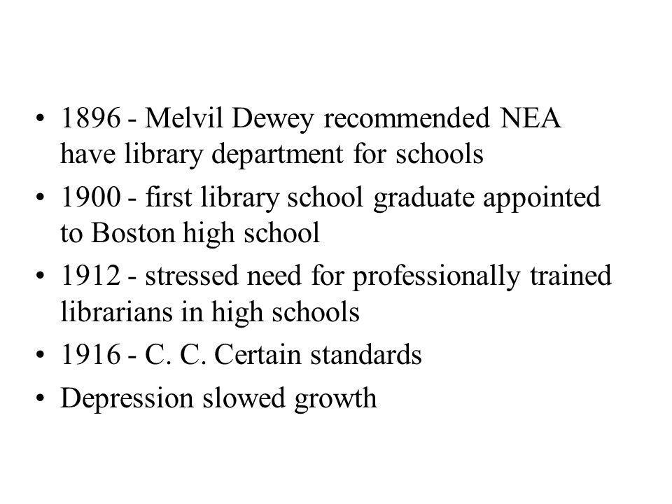 1896 - Melvil Dewey recommended NEA have library department for schools 1900 - first library school graduate appointed to Boston high school 1912 - stressed need for professionally trained librarians in high schools 1916 - C.