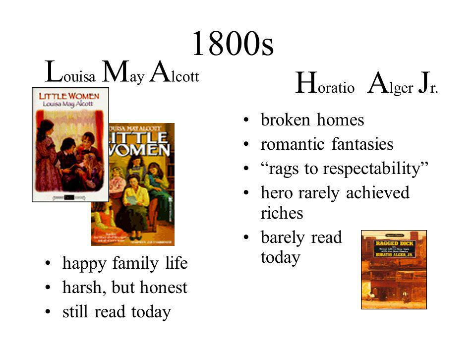 1800s happy family life harsh, but honest still read today broken homes romantic fantasies rags to respectability hero rarely achieved riches barely read today L ouisa M ay A lcott H oratio A lger J r.