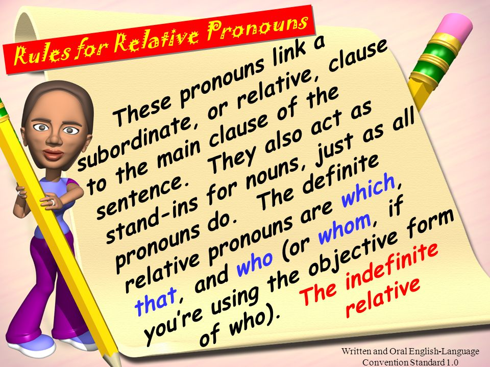 Written and Oral English-Language Convention Standard 1.0 Please copy the following info about pronouns into your English notebook. Pronouns