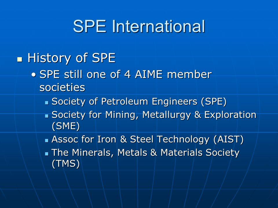 SPE International History of SPE History of SPE SPE still one of 4 AIME member societiesSPE still one of 4 AIME member societies Society of Petroleum