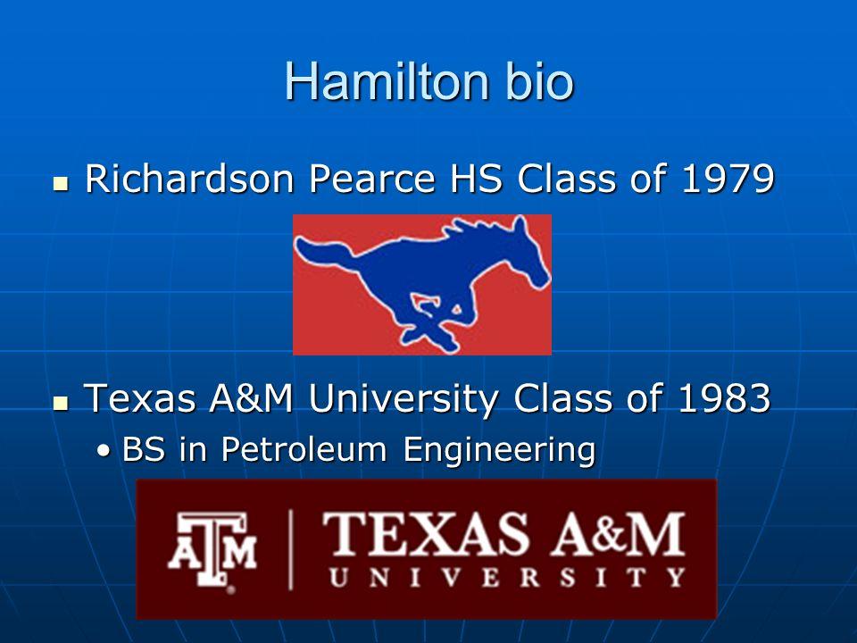 Hamilton bio Richardson Pearce HS Class of 1979 Richardson Pearce HS Class of 1979 Texas A&M University Class of 1983 Texas A&M University Class of 19