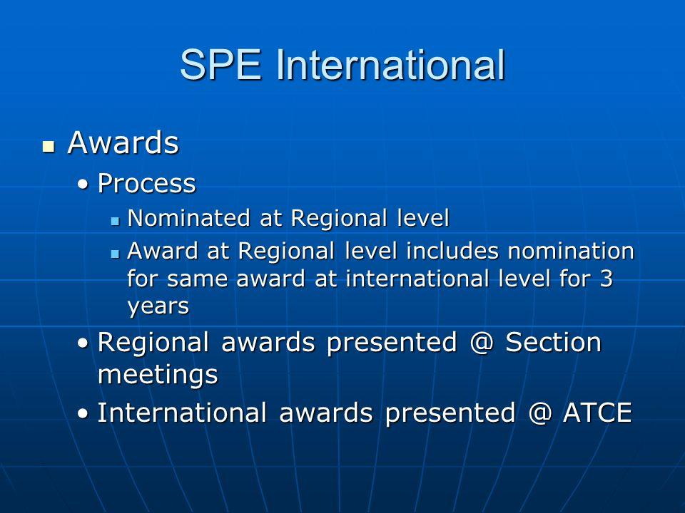 SPE International Awards Awards ProcessProcess Nominated at Regional level Nominated at Regional level Award at Regional level includes nomination for