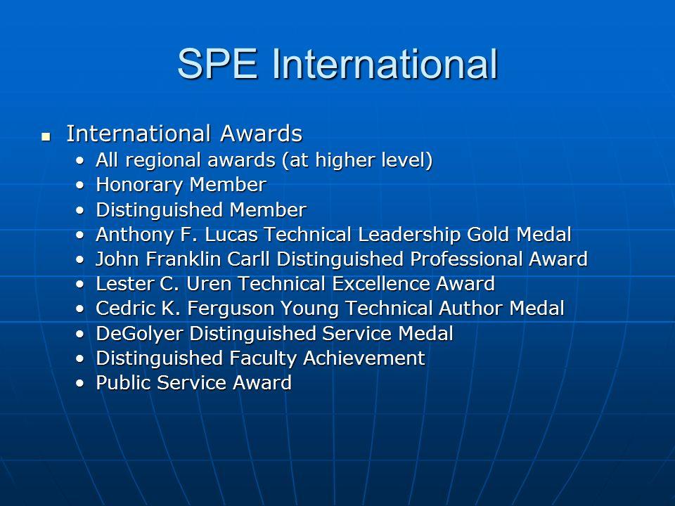 SPE International International Awards International Awards All regional awards (at higher level)All regional awards (at higher level) Honorary Member
