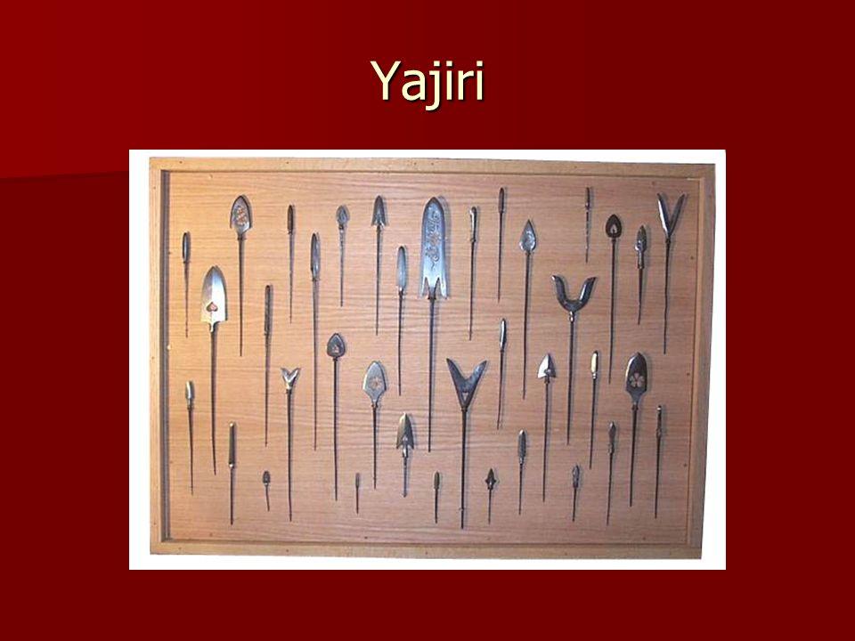 Types of Yajiri Hiniki: whistling Hiniki: whistling Hira-ne: flat shape with sharp edges Hira-ne: flat shape with sharp edges Karimata: two pronged, rope cutter Karimata: two pronged, rope cutter Muto: target point Muto: target point Sankaku: Armor piercing, diamond Sankaku: Armor piercing, diamond Yanagi-bu: Wilow leaf Yanagi-bu: Wilow leaf Watakushi: Barbed, flesh tearing Watakushi: Barbed, flesh tearing