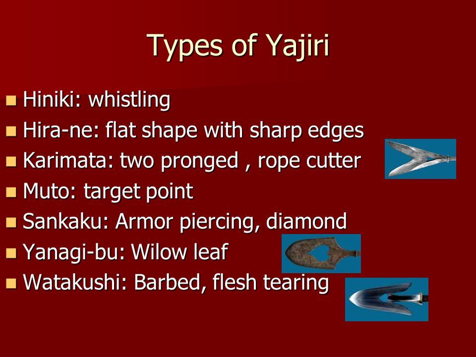 Types of Yajiri Hiniki: whistling Hiniki: whistling Hira-ne: flat shape with sharp edges Hira-ne: flat shape with sharp edges Karimata: two pronged, r