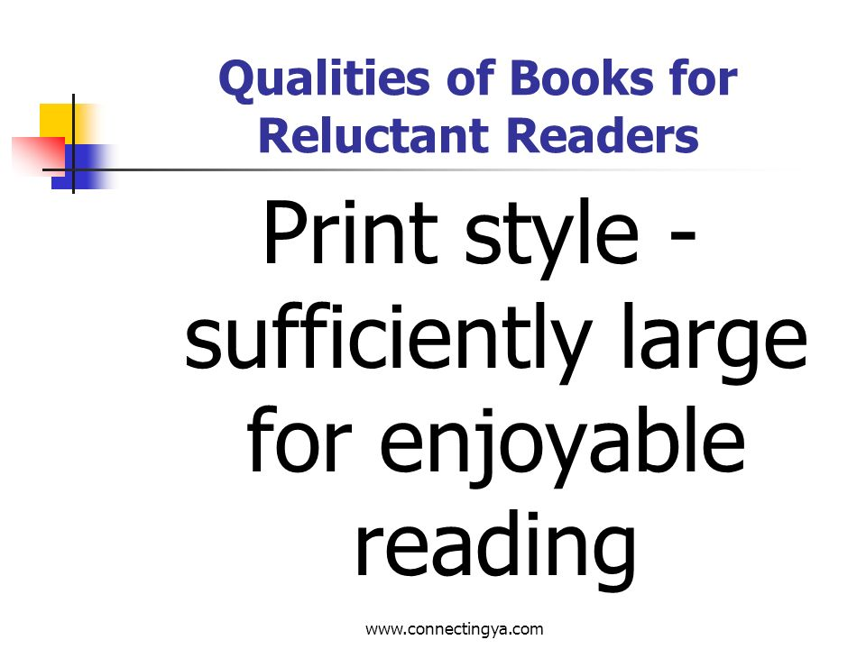 www.connectingya.com Qualities of Books for Reluctant Readers Cover - catchy, action-oriented, attractive, appealing, good blurb