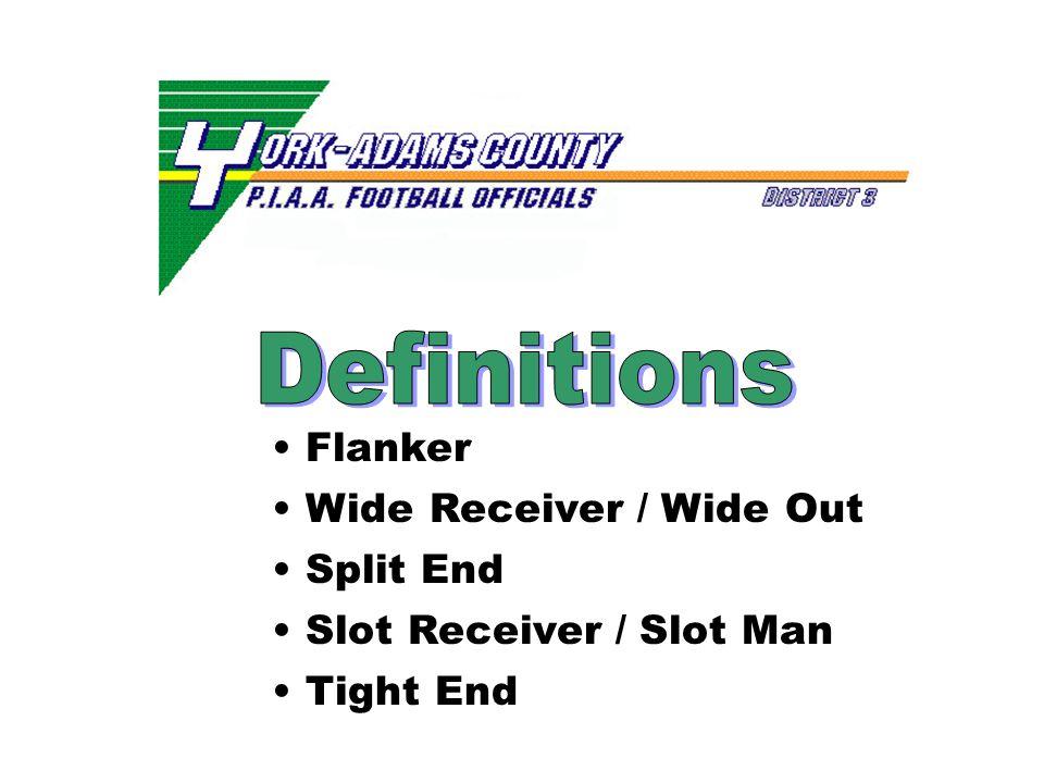 Flanker Wide Receiver / Wide Out Split End Slot Receiver / Slot Man Tight End