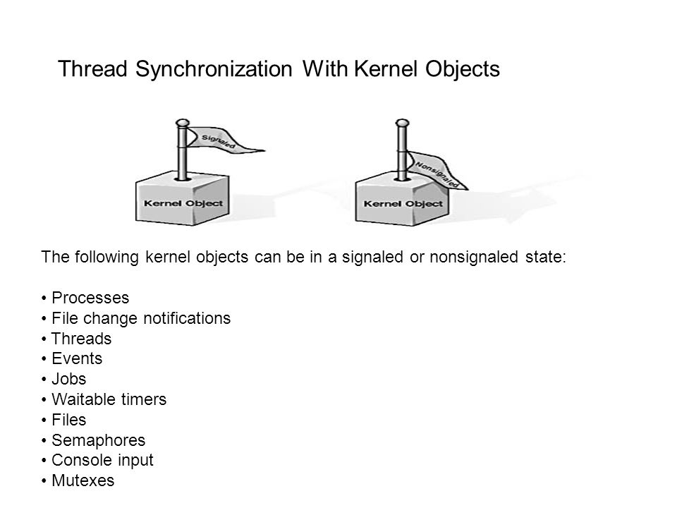 Thread Synchronization With Kernel Objects The following kernel objects can be in a signaled or nonsignaled state: Processes File change notifications