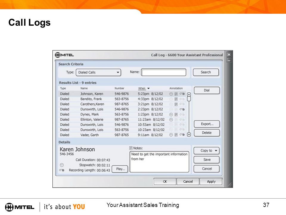 Your Assistant Sales Training37 Call Logs