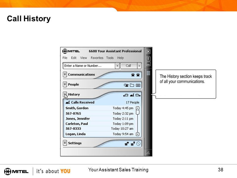 Your Assistant Sales Training38 Call History