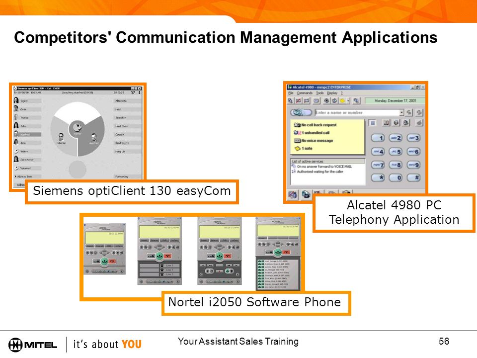 Your Assistant Sales Training56 Siemens optiClient 130 easyCom Nortel i2050 Software Phone Competitors' Communication Management Applications Alcatel