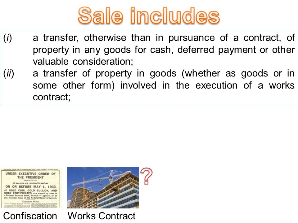 (g) sale , with its grammatical variations and cognate expressions, means any transfer of property in goods by one person to another for cash or deferred payment or for any other valuable consideration, and includes,