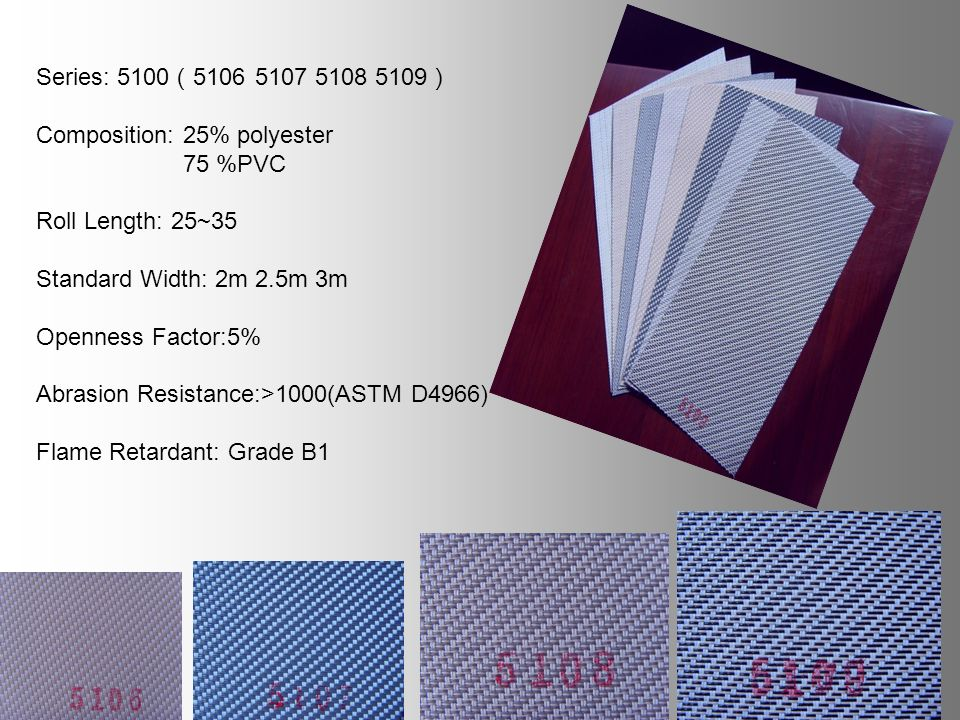 Series: 5100 5106 5107 5108 5109 Composition: 25% polyester 75 %PVC Roll Length: 25~35 Standard Width: 2m 2.5m 3m Openness Factor:5% Abrasion Resistance:>1000(ASTM D4966) Flame Retardant: Grade B1