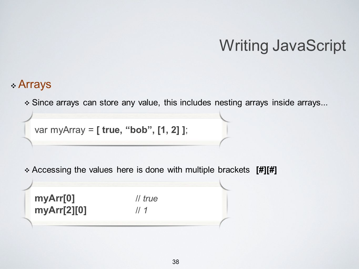 38 Michael Smotherman lectures 1:15pm FS2-207F Brandon Bombassei, Alejandro Campos labs 5pm-9pm 9pm-1am FS2-106E Writing JavaScript Arrays Since arrays can store any value, this includes nesting arrays inside arrays...