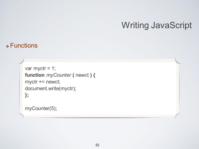 52 Michael Smotherman lectures 1:15pm FS2-207F Brandon Bombassei, Alejandro Campos labs 5pm-9pm 9pm-1am FS2-106E Writing JavaScript Functions var myct