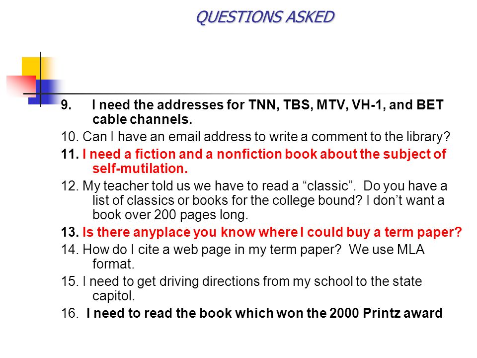 QUESTIONS ASKED 9.I need the addresses for TNN, TBS, MTV, VH-1, and BET cable channels.