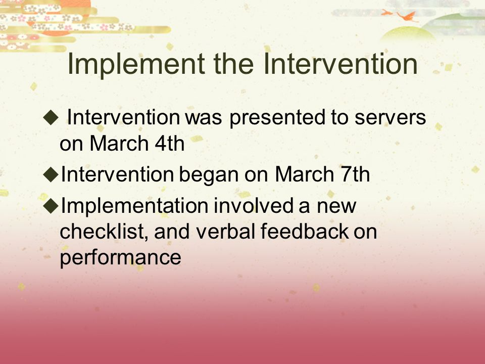 Implement the Intervention Intervention was presented to servers on March 4th Intervention began on March 7th Implementation involved a new checklist, and verbal feedback on performance