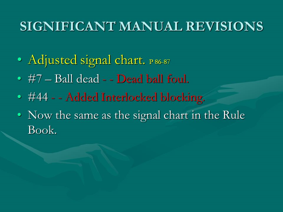 SIGNIFICANT MANUAL REVISIONS Adjusted signal chart. P 86-87Adjusted signal chart. P 86-87 #7 – Ball dead - - Dead ball foul.#7 – Ball dead - - Dead ba
