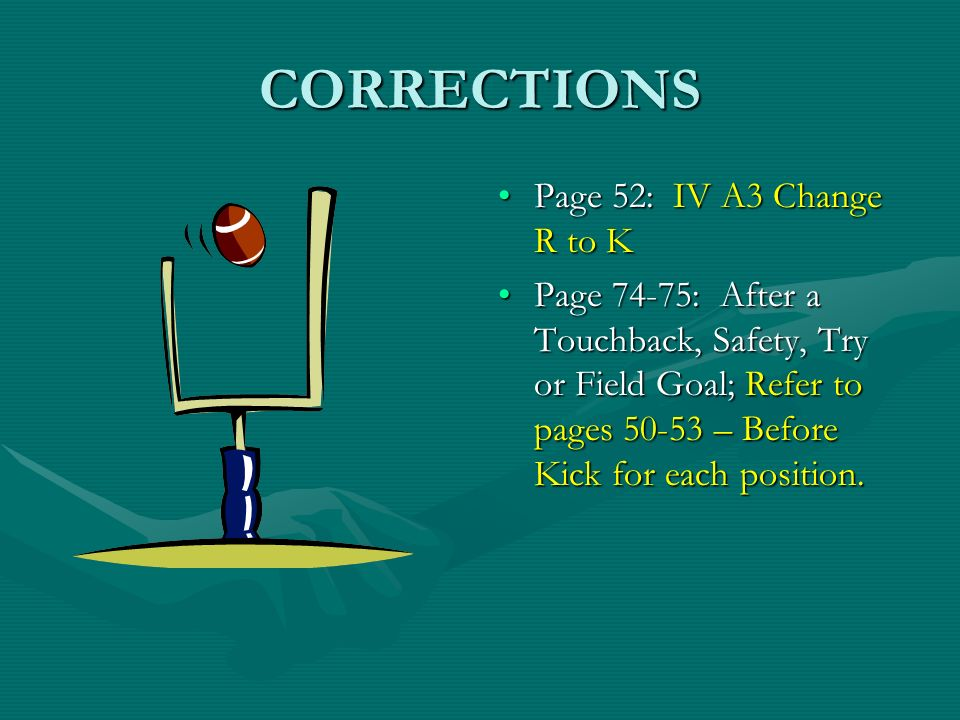 CORRECTIONS Page 52: IV A3 Change R to K Page 74-75: After a Touchback, Safety, Try or Field Goal; Refer to pages 50-53 – Before Kick for each positio
