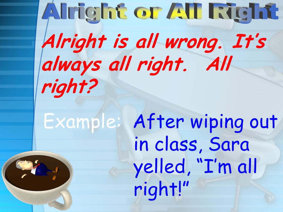 Alright is all wrong. Its always all right. All right? Example: After wiping out in class, Sara yelled, Im all right!
