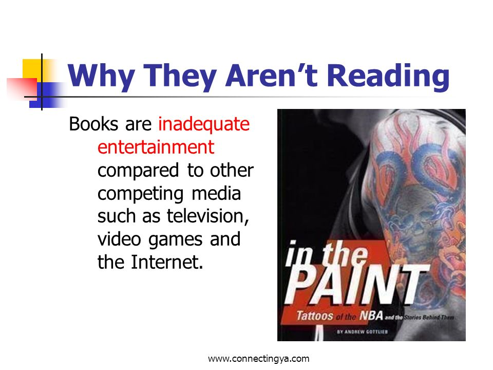 www.connectingya.com Why They Arent Reading Teenagers are too self-absorbed and preoccupied with themselves, their problems, families, sexual roles, etc., to make connections between their world and books.