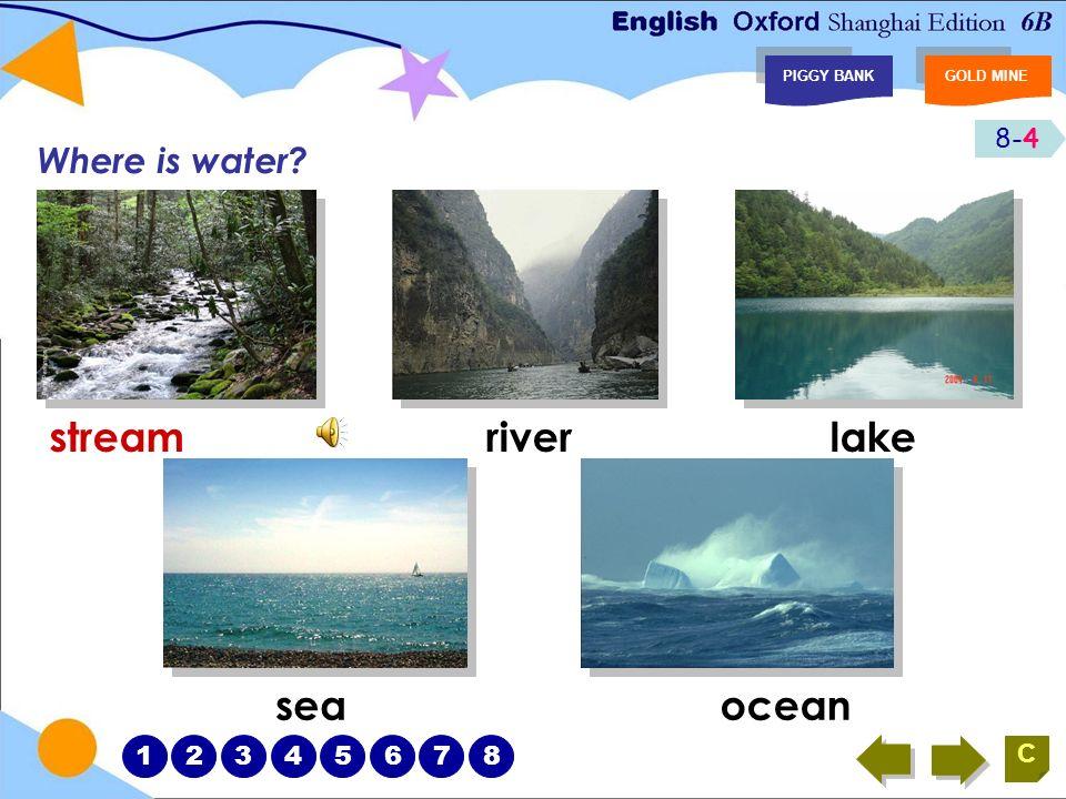 8-4 PIGGY BANKGOLD MINE C Where is water? streamriverlake seaocean 12345678