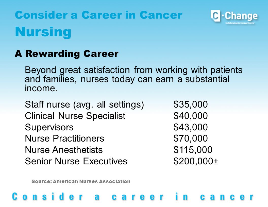 Consider a Career in Cancer Nursing A Rewarding Career Beyond great satisfaction from working with patients and families, nurses today can earn a substantial income.
