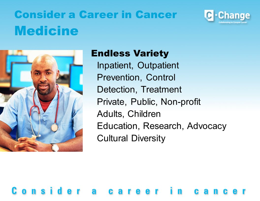 Consider a Career in Cancer Medicine Endless Variety Inpatient, Outpatient Prevention, Control Detection, Treatment Private, Public, Non-profit Adults, Children Education, Research, Advocacy Cultural Diversity