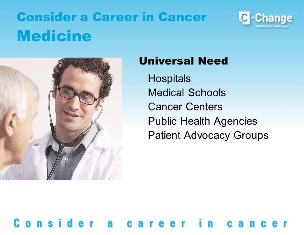 Consider a Career in Cancer Medicine Universal Need Hospitals Medical Schools Cancer Centers Public Health Agencies Patient Advocacy Groups