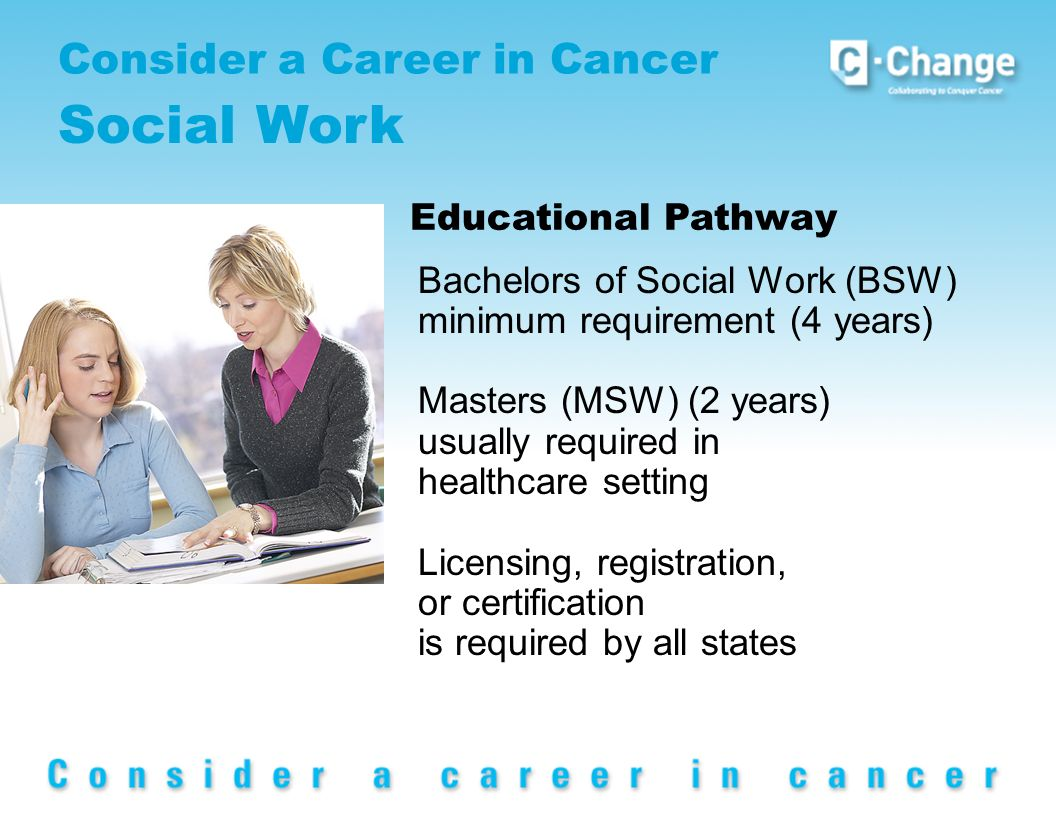 Consider a Career in Cancer Social Work Educational Pathway Bachelors of Social Work (BSW) minimum requirement (4 years) Masters (MSW) (2 years) usually required in healthcare setting Licensing, registration, or certification is required by all states
