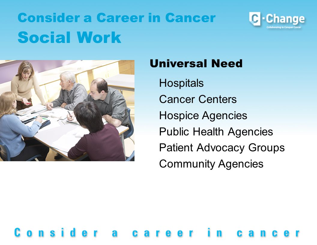 Consider a Career in Cancer Social Work Universal Need Hospitals Cancer Centers Hospice Agencies Public Health Agencies Patient Advocacy Groups Community Agencies