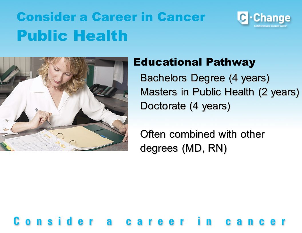 Consider a Career in Cancer Public Health Educational Pathway Bachelors Degree (4 years) Masters in Public Health (2 years) Doctorate (4 years) Often combined with other degrees (MD, RN)