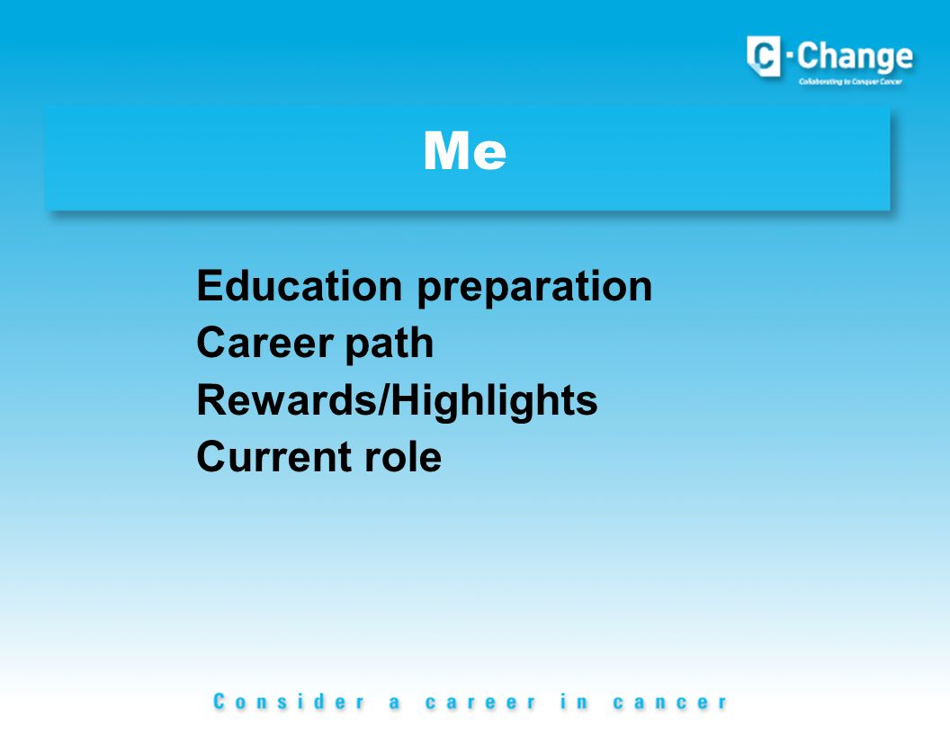 Me Education preparation Career path Rewards/Highlights Current role