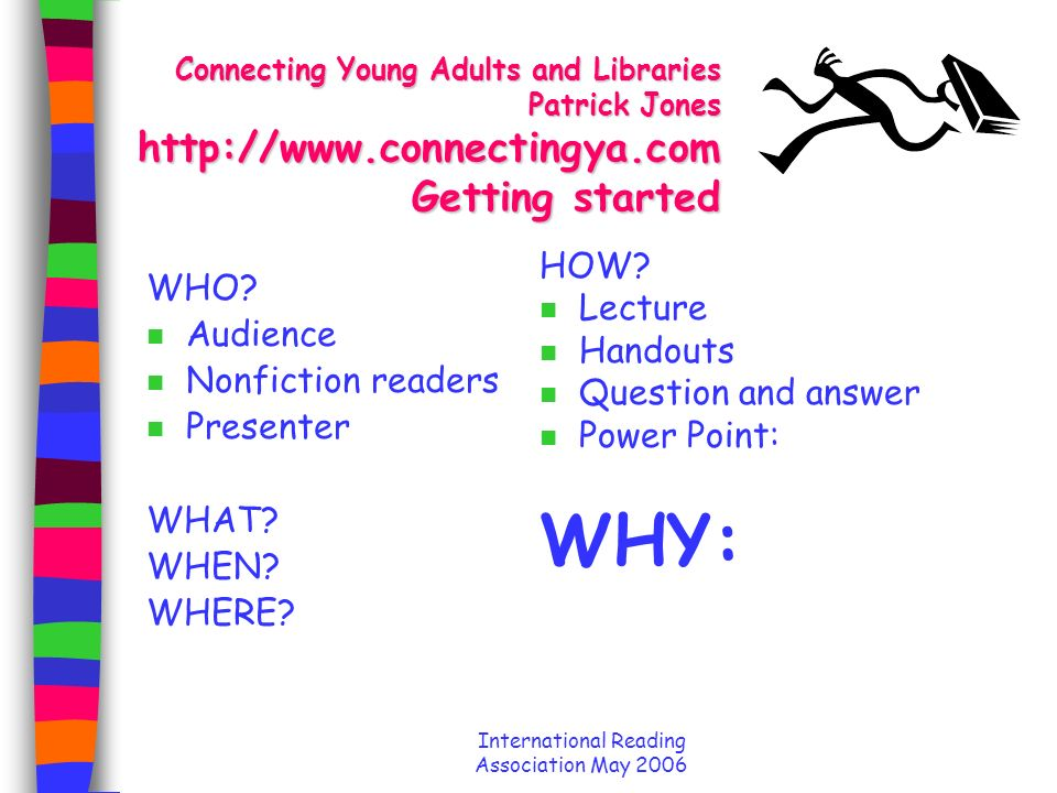 International Reading Association May 2006 Connecting Young Adults and Libraries Patrick Jones http://www.connectingya.com n Consulting, training, and coaching for providing powerful youth services including library card campaigns and web projects n patrick@connectingYA.com