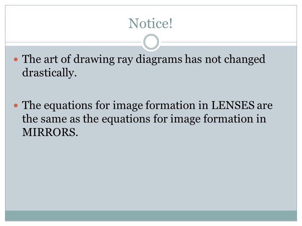 Notice! The art of drawing ray diagrams has not changed drastically. The equations for image formation in LENSES are the same as the equations for ima