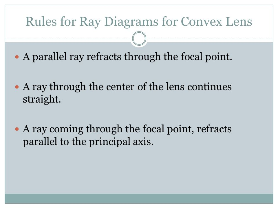 Rules for Ray Diagrams for Convex Lens A parallel ray refracts through the focal point.