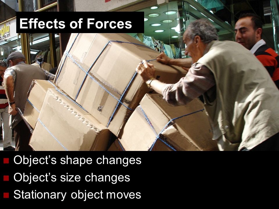 4 Objects shape changes Objects size changes Stationary object moves Effects of Forces