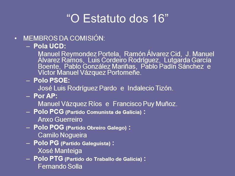 O Estatuto dos 16 MEMBROS DA COMISIÓN: –Pola UCD: Manuel Reymondez Portela, Ramón Álvarez Cid, J. Manuel Álvarez Ramos, Luis Cordeiro Rodríguez, Lutga