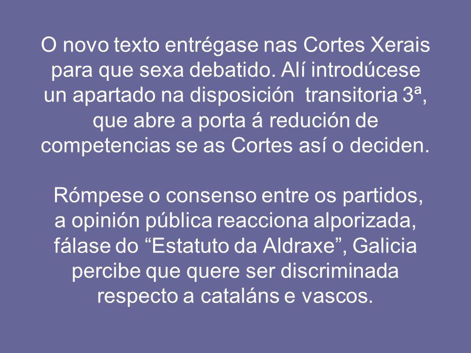 O novo texto entrégase nas Cortes Xerais para que sexa debatido. Alí introdúcese un apartado na disposición transitoria 3ª, que abre a porta á redució