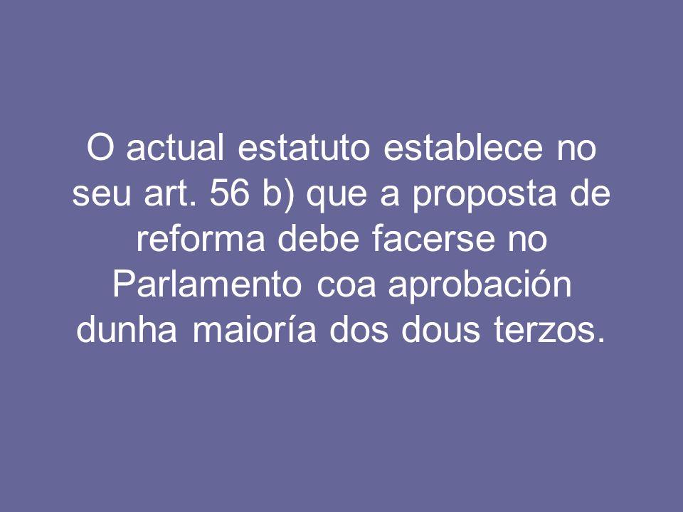 O actual estatuto establece no seu art. 56 b) que a proposta de reforma debe facerse no Parlamento coa aprobación dunha maioría dos dous terzos.