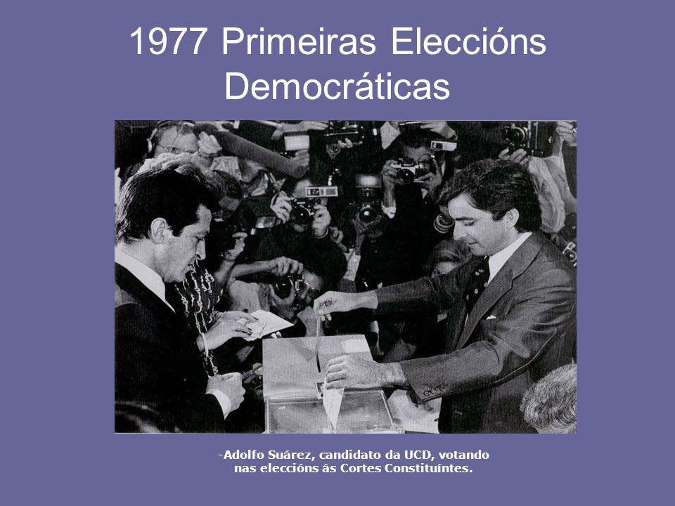 1977 Primeiras Eleccións Democráticas -Adolfo Suárez, candidato da UCD, votando nas eleccións ás Cortes Constituíntes.