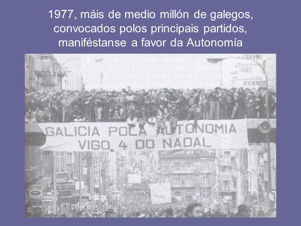 1977, máis de medio millón de galegos, convocados polos principais partidos, maniféstanse a favor da Autonomía