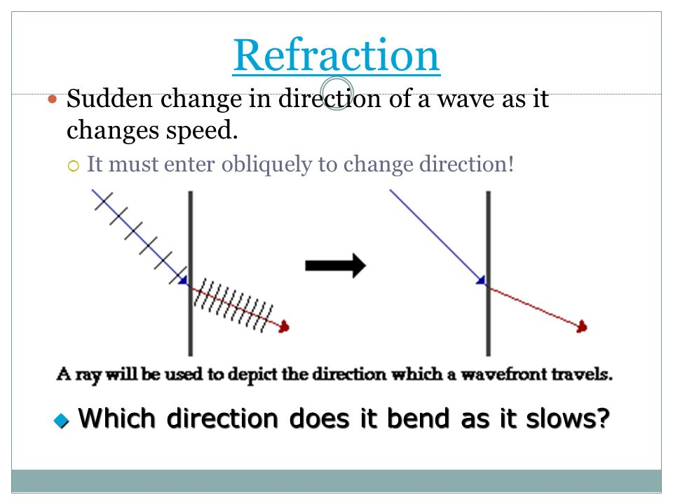Refraction Sudden change in direction of a wave as it changes speed. It must enter obliquely to change direction! Which direction does it bend as it s